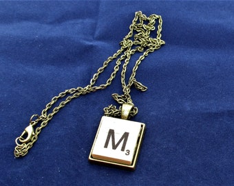 SCRABBLE INITIAL M NECKLACE with chain
