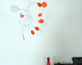 """Vivid Orange Modern Hanging Art Mobile 24""""x26"""" - Midcentury Inspired Kinetic Sculpture - Free Shipping"""