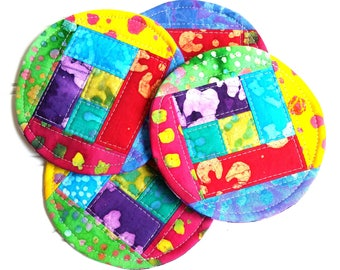 Quilted Coaster Set,  Bright Colors, Fabric Coasters, Mug Rugs