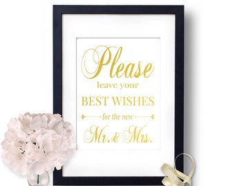 Best Wishes For Wedding, Gold Sign Well Wishes, Custom Wedding Sign, Elegant Wedding Decor, Wedding Advice, Wedding Decorations