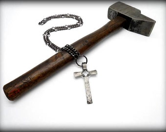 CROSS PENDANT Necklace Hand Forged and Signed by Blacksmith Naz