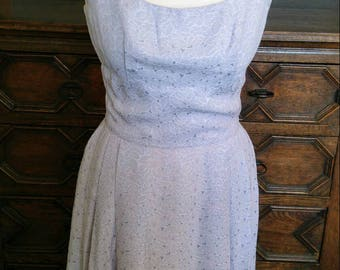 1950s / very late 1940s vintage pale blue dress with full skirt, nipped waist approx uk 10
