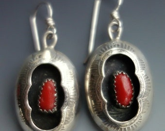 Coral Sterling Shadowbox Earrings