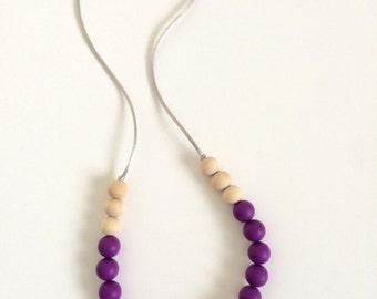 Silicone & Natural Wood Teething Necklace - Eggplant