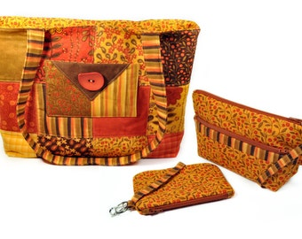 Large Quilted Tote Bag Patchwork Fall Colors Golden Yellow Olive Green Brown Red Orange