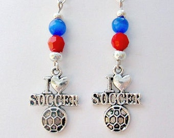 Team Colors Jewelry Soccer, Soccer Jewelry, Soccer Earrings, Soccer Accessories, Teen Girl Gift, Soccer Gift, Soccer Mom, Free Shipping