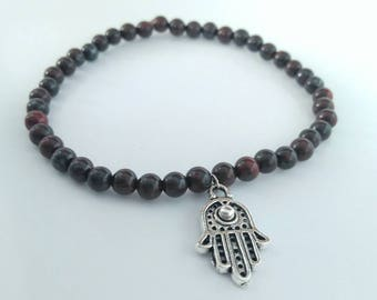 Hasma Hand of Fatima Jasper Beaded Stone Bracelet - Stretchy - Red Jasper Bracelet - Feminine Bracelet - Red Brown bracelet - stone bracelet
