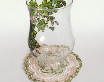Beige, Green Spiral Doily in Tatting - Home Decor - Cathy
