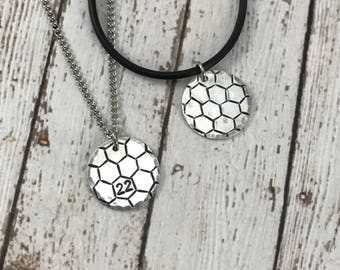 Custom Soccer Charm with number - Hand-Stamped Charm Necklace - Sports