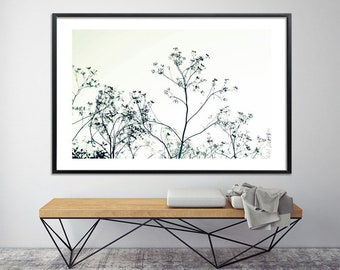 Large minimalist poster of tree, Canvas Print up to 40X60, huge wall decor, tree print, black and white