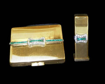 Ciner Rhinestone Compact and Lipstick Case Set Signed