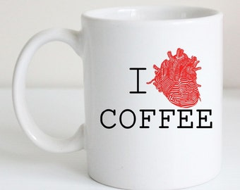 I Heart Coffee- Funny Coffee Mug, Humorous Tea Cup, Doctor Gift, Anatomy Art, Unique Gift for Coffee Lover, Black and Red Modern Design