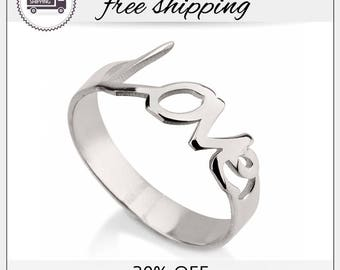 20% off- SALE!! Love Ring Cursive, Love Ring Silver, Love Ring, Sterling Silver Rings, Silver Ring, Bridesmaid Jewelry Gift, Letter Ring