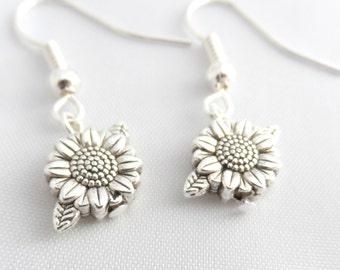 Silver Flower Earrings - Sunflower Earrings - Dangle Earrings