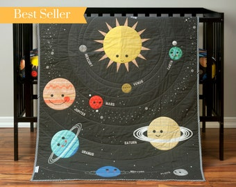 Outer Space Nursery Crib Bedding - Planet Baby Quilt - Gender Neutral - Galaxy Nursery - Solar System Blanket - Celestial/Constellations