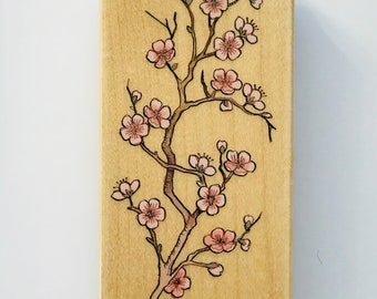 Vintage Cherry Blossom Rubber Stamp