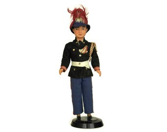 French Soldier Boy Doll in Military Uniform and Feather Helmet. Vintage Collectible Souvenir Figurine In Traditional Costume. Gifts For Him