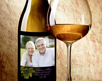Photo - Custom Wine Bottle Label - Custom Photo Wine Labels - Retirement Decor - Retirement Wine Stickers - Personalized Retirement Favors
