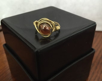 FREE SHIPPING! Brown/Gold Ring Wire Wrapped - Size 5