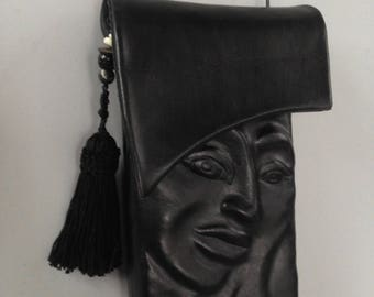 Iphone 6 Crossbody Leather  Pursona Snap and Flap bag in Black with Tassel and Beads