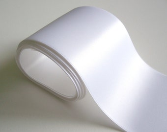 Wide White Ribbon, Double-Sided White Satin Ribbon 4 inches wide x 3 yards, Wedding Sash Ribbon