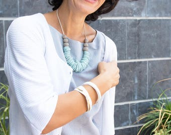 Turquoise Statement Necklace,  Handmade beaded necklace, Modern  Chunky necklace, Porcelain necklace, Fashion jewelry