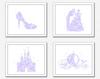 Purple Princess wall art, light purple princess set instant download, purple Cinderella silhouette, slipper,pumpkin carriage,Prince Charming