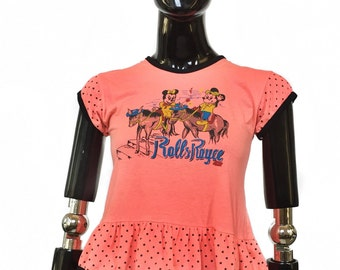 Vintage Mickey and Minnie mouse pink and black ruffle top