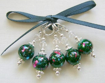 Green Splatterglass Stitch Markers for Knitting or Crochet