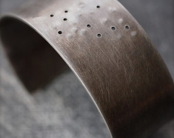 Simple contemporary texturized sterling silver cuff bracelet