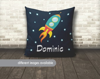 Space Pillow, Space Ship Pillow, Rocket Ship Pillow, Space Bedding, Space Name Pillow, Personalized Space Pillow, Outer Space Name Pillow