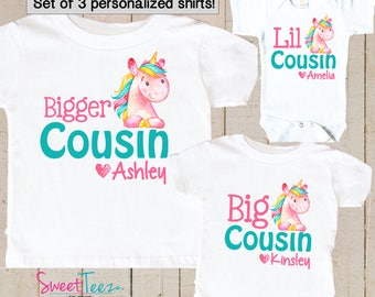 Unicorn shirt set for Cousins Shirt SET of 3 bigger Cousin Big Cousin Little Cousin Personalized Shirts bodysuit SET