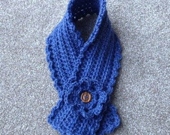 CROCHET PATTERN short scarf neck warmer scarflette with flower