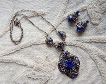 Vintage Czech Filigree and Blue Glass Rhinestone Necklace with Matching Clip Earrings Set