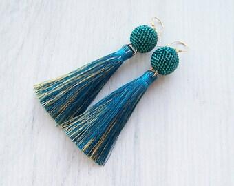 Teal Emerald Tassel earrings - Boho Tassels - Party tassel earrings - Luxury Silk tassle earrings - Dangle long tassle teal gold earrings