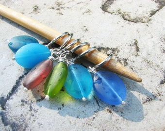Sea Glass Non-Snag Stitch Markers