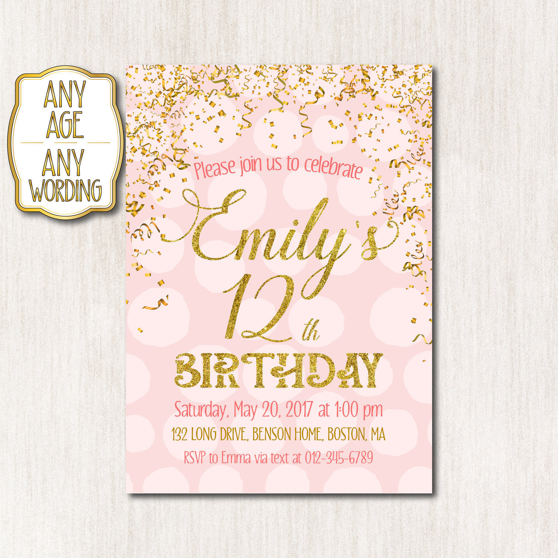 12th Birthday invitation Pink and Gold Birthday Invitation