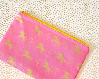 Pink and Gold Unicorn Zipper Pouch 8x5 - Makeup Bag / Pencil Bag