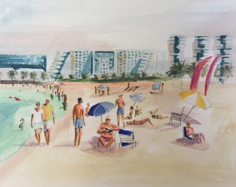 original abstract beach painting, , art, figurative, colorful, seaside, sunbathing, coastal art, original,