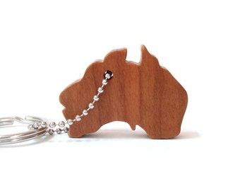 Wood Australia Silhouette Key Chain Country Outline Key Ring Australia Key Fob