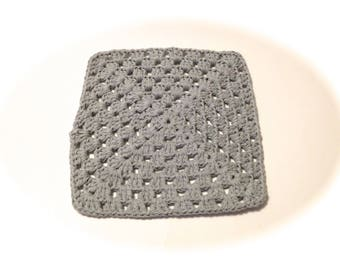 Gray Crocheted Square Dish Cloth