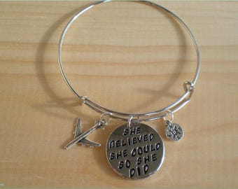She Believed She Could So She Did Bangle, Travel Bangle, New Job Bangle, Jewelry Findings