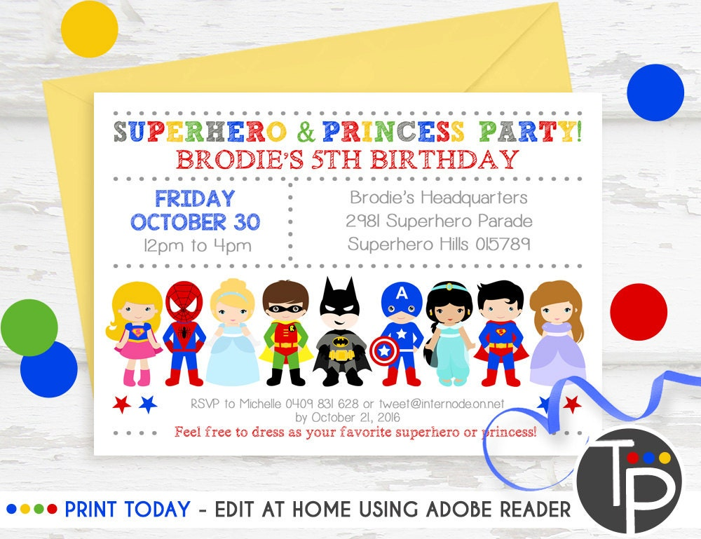 SUPERHERO PRINCESS PARTY Invitation Instant Download