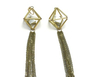 No. 27 Thea Goddess Matrix Himmeli Tassel Dangle Earrings / 3D Gold Brass Pyramid with Pyrite Cube in Geometric Cage Minimal Modern Jewelry