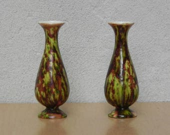 Pair Small Green Brown Ceramic Bud Vases From 1973