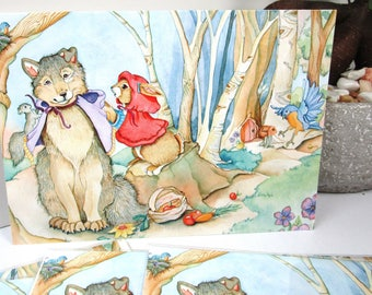 Red Riding hood card, fairytale card art, watercolor, art, birthday or everyday greeting cards
