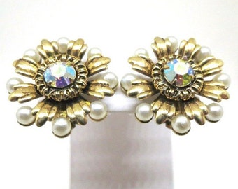 Pearl and Rhinestone Earrings - Vintage, Gold Tone, Aurora Borealis Rhinestone, Floral Design, Clip-on Earrings