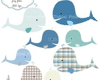 Whale Clip Art Set - baby boy printable digital clipart - instant download