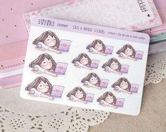 Kawaii autocollants décoratifs pour fille: fatigué, ennuyeux, heures de travail supplémentaires ~ Violet ~ pour votre agenda, calendrier, Scrapbook, etc..
