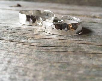"""Hammered Silver Hoop Earrings—1"""" Diameter—Wide Hammered Sterling Silver Everyday Hoop Earrings—Ready-to-Ship"""